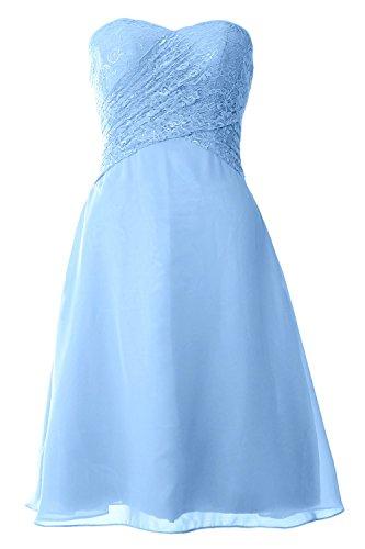 MACloth donne senza spalline in pizzo abito formale vestito damigella d' onore corta matrimonio Party Sky Blue 38