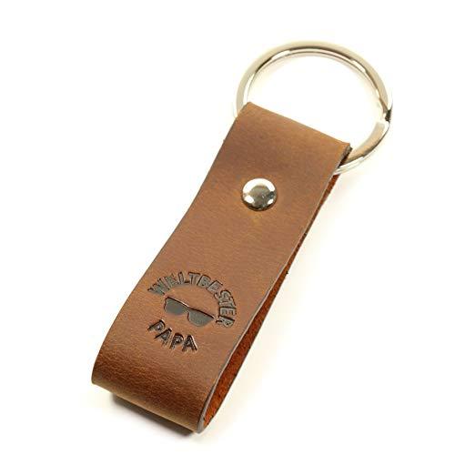 Für den weltbesten Papa, mit Symbol Sonnenbrille, Schlüsselanhänger mit Gravur, Leder mit Prägung - Geschenk - edle Haptik - in schicker Geschenkbox - Original Luminick®