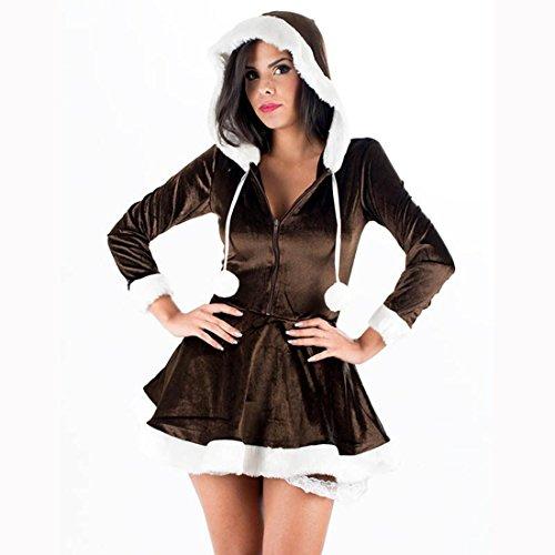 Hzz Frau Santa Lange Ärmel Kapuzenkleid Weihnachten Cosplay Fancy Velvet Kostüm für Frauen , brown , (Kostüme Robe Brown Hooded)