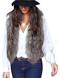 ¡ Promoción navideña! SHOBDW Mujeres faux chaleco de piel sin mangas abrigo chaqueta de pelo largo chaleco