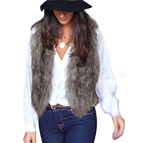 ¡ Promoción navideña! SHOBDW Mujeres faux chaleco de piel sin mangas abrigo chaqueta de pelo largo chaleco (Gris, XXL)