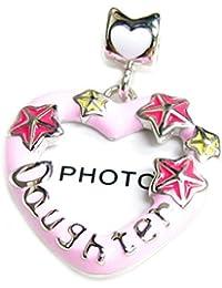 Queenberry Plata de Ley Corazón Hija marco de fotos rosa esmalte Europea estilo Bead Charm