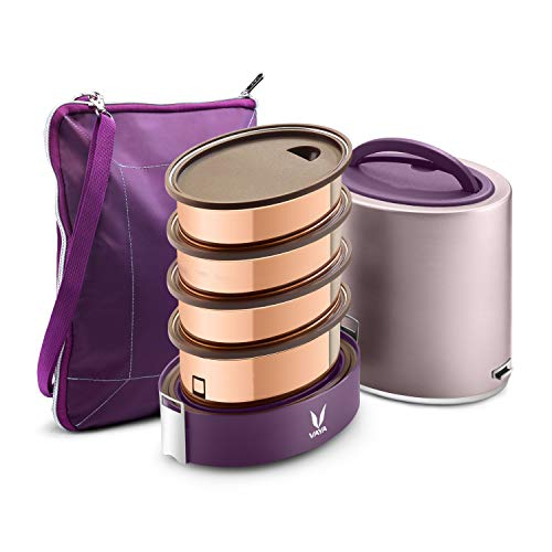 Vaya Tyffyn Jumbo Purple Copper-Finished Stainless Steel Lunch Box with Bagmat, 1300 ml, 4 Containers, Purple