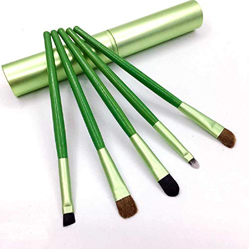 shishangdaka Make-up Pinsel Set Pferd Haar Lidschatten Pinsel Aluminium Rohr Eimer Pinsel 5 Make-up Set Beauty-Tools vert