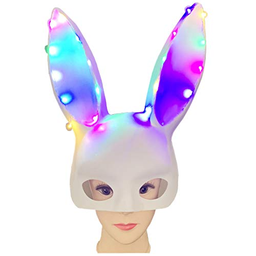 Purge Zum Kostüm Verkauf - Huacat Halloween Maske beleuchtet Lichter Bunny Ear Nachtclub Bar Cos Dress Up Requisiten Karneval Fasching Schlangenkostüm Cosplay