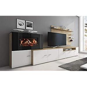 Home Innovation – Wohnmöbel mit elektrischem Kamin mit 5 Flammenstufen, mattweißer Oberfläche und gebürsteter heller…