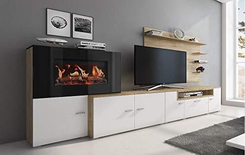 Home Innovation -Meuble de salon avec cheminée électrique à 5 niveaux de flamme, finition Blanc mat et chêne clair brossé, mesures : 290 x 170 x 45 cm de profondeur.