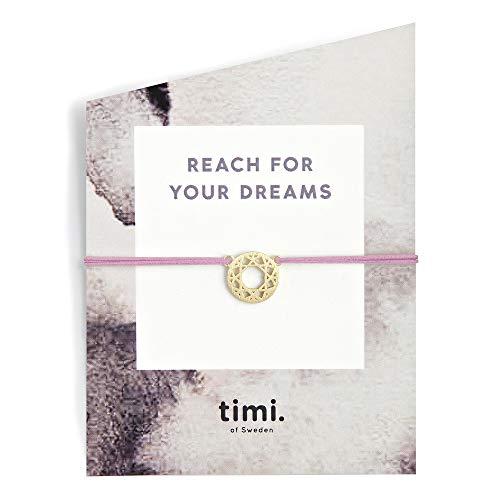 Mint TIMI of Sweden - Pulsera de la Amistad, diseño de atrapasueños, Color Dorado y Rosa