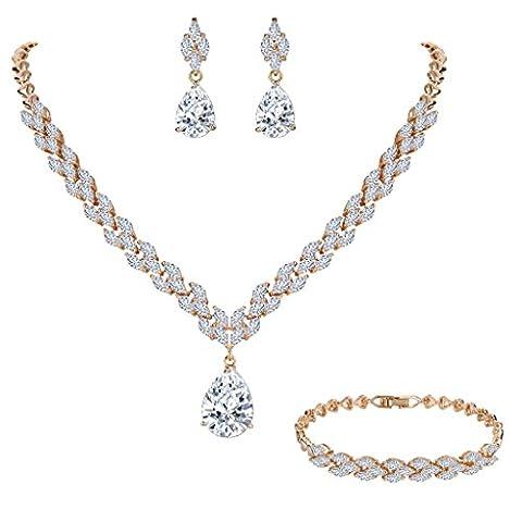 EVER FAITH® CZ Marquise Form Tropfen Pendant Elegant Halskette Ohrringe Armkette Armband Set klar Gold-Ton