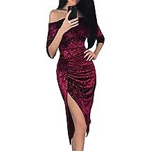 b6c93391c92 Carolilly Robe Fendue Femme Mi-Longue en Velours Robe Moulante Sexy Hors  Epaules Manches 1