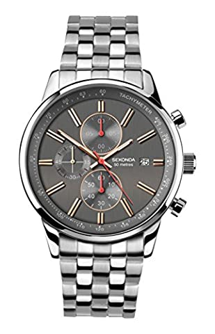 Sekonda Men's Quartz Watch with Grey Dial Chronograph Display and Silver Stainless Steel Bracelet 1156.27