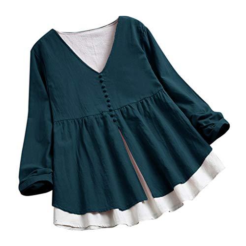 xinhai7682 Damen Bluse, Frauen Lässiger V Ausschnitt Bedruckte Katze 3/4 Ärmel Unregelmäßige Vintage Hemden Sommer Oberteile