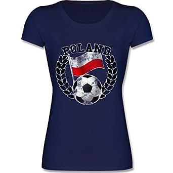F288N – Leicht tailliertes Damen Frauen T Shirt Lady-Fit Valueweight T mit Rundhalsausschnitt, bewährte Qualität – EM 2016 – Frankreich – Poland Flagge & Fußball Vintage