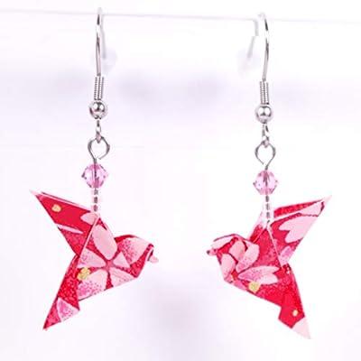 Boucles d'oreilles colombes origami rouges avec des fleurs roses - crochet inox