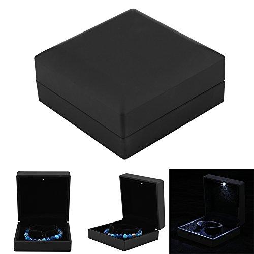 Schmuckschatulle, LED beleuchteter Ring/Anhänger/Armband/Halskette Schmuck-Vitrine Geschenke Aufbewahrungsbox(Armband box größe) (Geschenk-box Ring Und Armband)