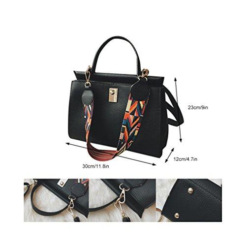 Allgleiches Einkaufstasche Frauen Schultertasche Kuriertaschen PU für Schicke Lässige Vbiger Schwarz Umhängetasche Leder Modische anqfpCwfHx