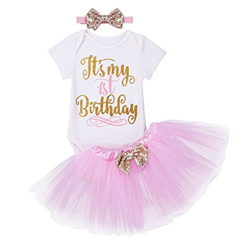 CHICTRY Baby Madchen Kleidung Set 2 Stuck Tops Rock Tutu Its My 1st Birthday Outfits Verkleidung Mit Stirnband Rosa 6 12 Monate
