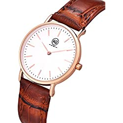 AIBI Waterproof Womens Rose Gold Classic Watch with Brown-red Leather Strap