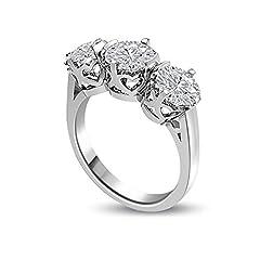 Idea Regalo - 0.45ct G/VS1 Diamante Trilogy Anello da Donna con Rotonda Brillante diamanti in 18kt Oro bianco