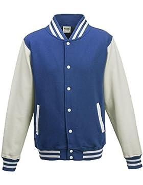 Just Hoods - Chaqueta - cuello mao - Manga Larga - Opaco - para hombre Azul azul, blanco Talla:large