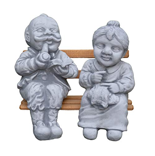 Banc de jardin figurine Europe et grand-mère sur en pierre amusante, gel