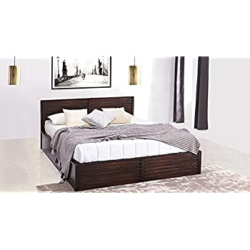 Urban ladder rille mango wood king size bed with box for Urban home beds