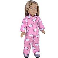 ebuddy ® 2pc Top + Pantaloni Cuore Stampa pajames pigiama per 18Inch bambola
