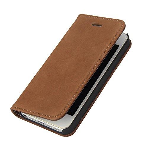 Wormcase Handytasche kompatibel mit iPhone 5-5S-SE – ECHTLEDERHÜLLE - HANDGEFERTIGT - KARTENFACH – MAGNETVERSCHLUSS – Braun - Case Echt-Leder-Tasche-Hülle-Case Etui Flip Schutz-huelle Echtes-Leder
