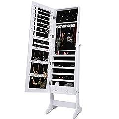 Idea Regalo - LANGRIA Armadio Specchiera Portagioie a Chiave Stand Bloccabile con Specchio Armadietto Organizer con Due Cassetti (Bianco)
