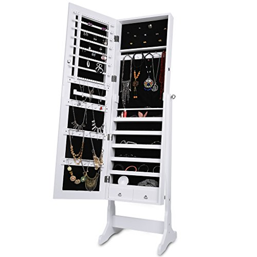 LANGRIA Jewelery Mirror, Jewelry Closet, White Lacquer and Interior Black Velvet, Ideal Gift for Birthday and Christmas (With 2 Drawers)