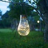Farol de luz solar, estilo bombilla de vidrio para colgar o decoración de mesa al aire libre