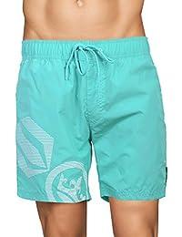 Crosshatch Mens Mesh Lined Swimming Shorts (Large, Ramirez - Atlantis - Green)