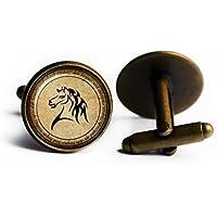 J.R.R. Tolkien Elven Runes Script One Ring to Rule Them All Horse Standard of Rohan Elven Script Antike Bronze Manschettenknöpfe