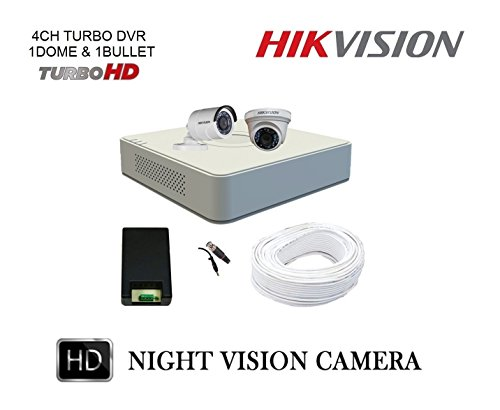 Hikvision 4 Channel DVR With 1 Indoor & 1 Outdoor CCTV Camera Surveillance Kit  available at amazon for Rs.6370