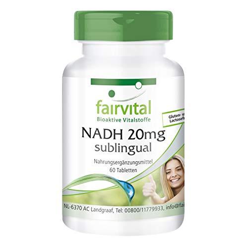 NADH 20mg sublingual - VEGANO - 60 comprimidos - estabilizado NADH - ¡Calidad Alemana garantizada!