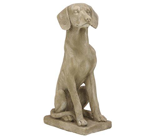 Dehner Dekofigur Hund sitzend, ca. 24 x 16.5 cm, Magnesia, grau/braun