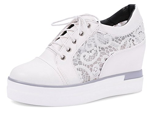 VogueZone009 Femme Couleur Unie Pu Cuir à Talon Haut Lacet Rond Chaussures Légeres Blanc