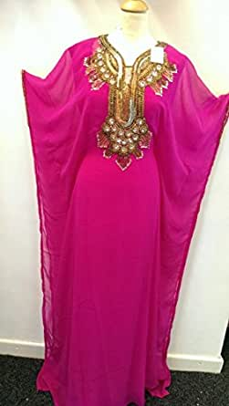 Caftan Farsha Burka Style Superbe MAXI robe de soirée Abaya à motif Rose