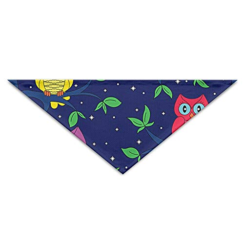 BigHappyShop Owls In A Moonlit Night Pet Scarf Dog Neckerchief Puppy Triangle Triangle Bibs Scarfs for Pet Dogs