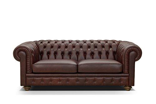 dafnedesign. com – Canapé en cuir véritable, style chester capitonne 'Color Cognac, fait à la main en Italie – L.200 x H.80 x p.95