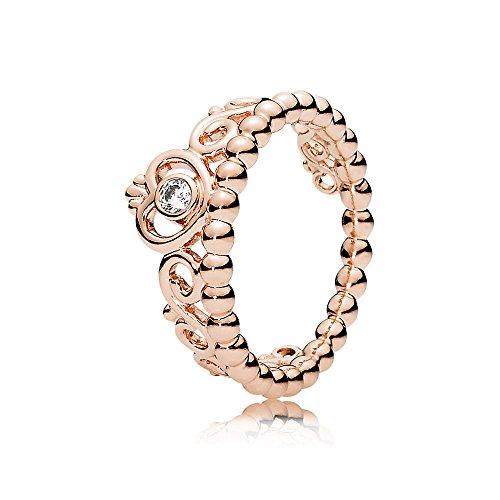 Pandora Damen-Motivring Silber_vergoldet mit '- Ringgröße 56 (17.8) 180880CZ-56 (Prinzessin Jewel Rose Gold Die)