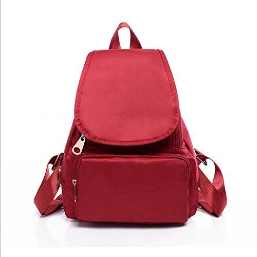 ZY&F Borsa a tracolla in nylon impermeabile portatile Signorina zaino Borse a tracolla Zaino studente , black Red