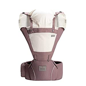 Bebamour Baby Carrier Hip Seat 5 Carry Ways with Detachable Seat Breathable Baby Carrier for Newborn (Dusty Pink)   11