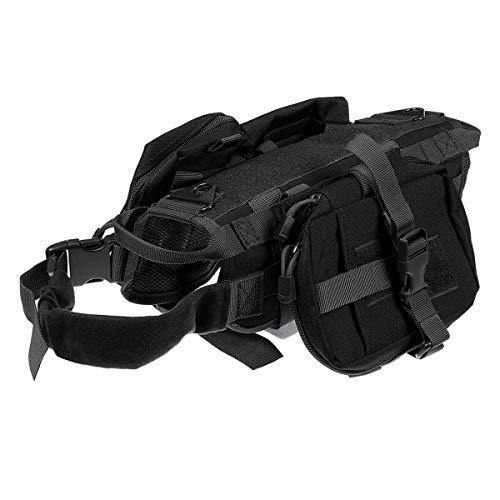 Peidong Täglich Tierbedarf Military Tactical Hunde-Bekleidung Harness Service-Arbeiten Hundeweste Leine Medium Large Schäferlauf Hunde, Katzen, Kleintiere (Color : Black, Size : M)