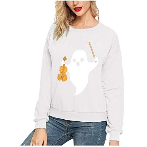 GOKOMO Frauen Halloween Ghost Print Langarm Crew Sweater Top Frauen Halloween Ghost Printing Rundhals Langarm Bluse Sweatshirt Top(Weiß-d,XXX-Large)
