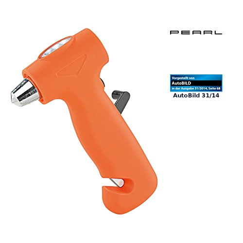 PEARL Autohammer: 3in1-Notfallhammer mit Dynamo-Taschenlampe & Gurtschneider (Nothammer mit Gurtschneider)
