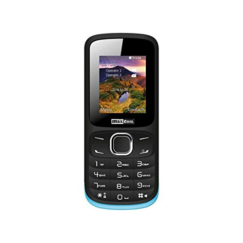MaxCom MM128 1 77  60g Negro  Azul Tel  fono para personas mayores - Tel  fono m  vil  SIM doble  4 5 cm  1 77    0 08 MP  Bluetooth  600 mAh  Negro