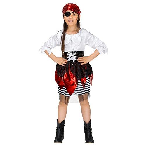 Lustige 2017 Mädchen Kostüme Halloween (Mädchenkostüm Piratin Lilly | Wunderschönes Kleid aus glänzendem Stoff | inkl. Haartuch (12-14 Jahre | Nr.)