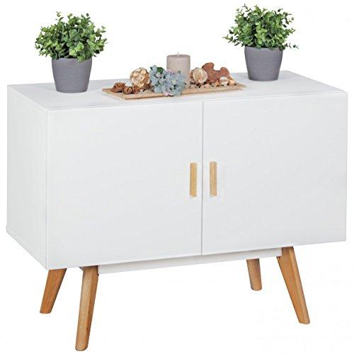 Sidebord mit 2 Türen in weiß mit Eichenholz Griffe und Füße; Maße (B/T/H) in cm: 90 x 40 x 70