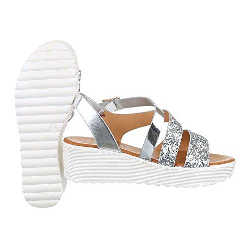 Komfortsandalen Damen Schuhe Römersandalen Keilabsatz/ Wedge Keilabsatz Schnalle Ital-Design Sandalen / Sandaletten Silber